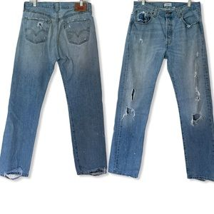Levi's 501 Destroyed Button Fly Jeans 33x34